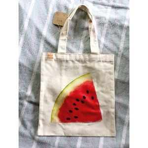 NWT 100% Cotton Canvas Tote W/ a Watermelon On It